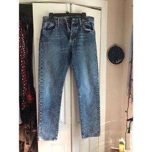 Acid Wash Distressed High Waisted Levi Jeans